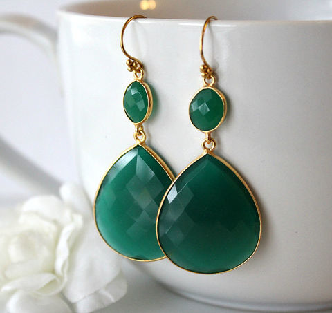 Extra,Large,Green,Onyx,Double,Drop,Earrings,,Dual,Dangle,,Gold,Vermeil,,Jewelry,Earrings,Dangle,emerald_green,gold_vermeil,long_double_drop,green_earrings,green_onyx,dual_dangle,green_bezel,green_gemstones,bygerene,dark_green_gemstone,green_onyx_earrings,green_onyx_jewelry,valentine_sale,green onyx,gold vermeil