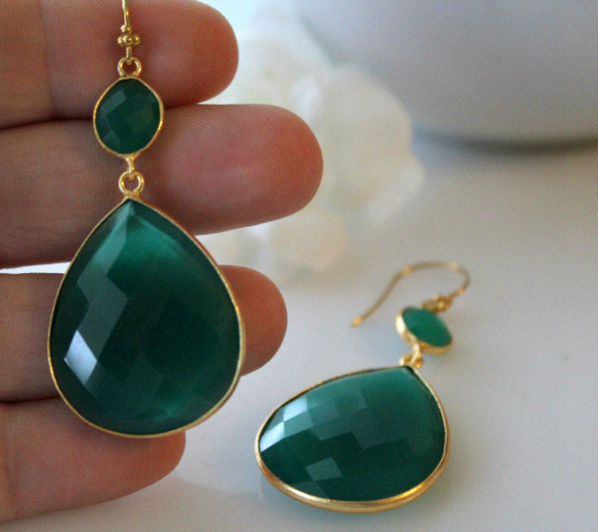 Extra Large Green Onyx  Double Drop Green Earrings, Green Onyx Dual Dangle, Gold Vermeil, Green Onyx Jewelry - product images  of