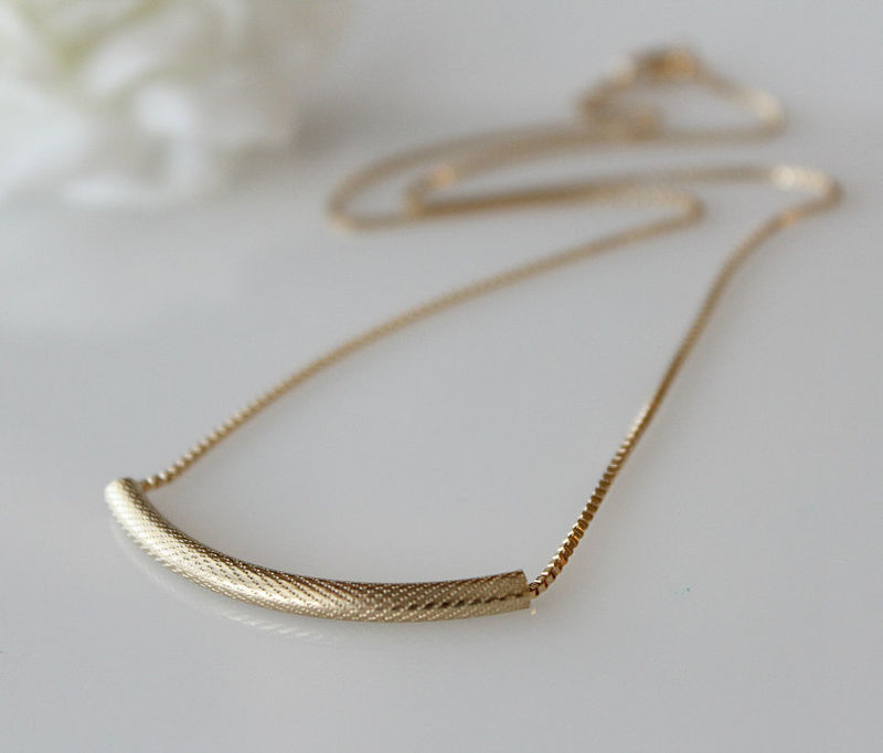 Gold Tube Chain Necklace, 14K Gold Filled, Curved Bar Pendant, Minimalist Jewelry, Curved Bar Necklace - product images  of