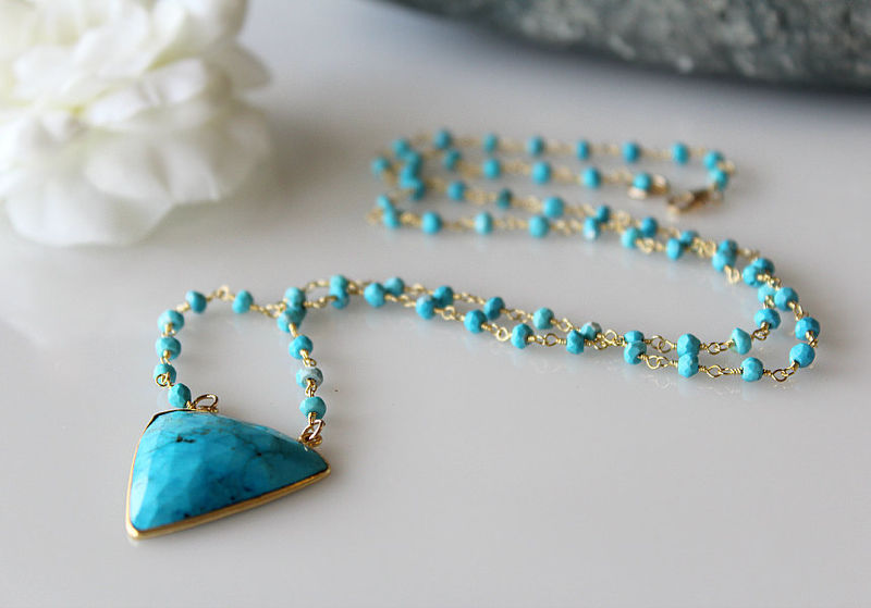 Blue Turquoise Rosary Necklace, Blue Gemstone, Rosary Style, 24k Gold Vermeil, Statement Necklace, Turquoise Jewelry, Southwest - product images  of