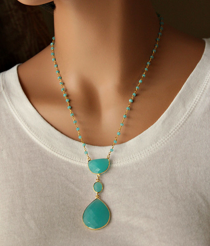 Long Aqua Chalcedony Pendant Necklace, Blue Green, Bohemian Pendant, Statement Necklace, Bohemian Style - product images  of
