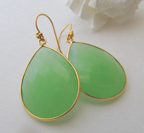 Large Green Chalcedony Drop Earrings, Mint Green Bezel Dangle, Light Green Gemstone, Gold Vermeil, Sage Green - product images  of