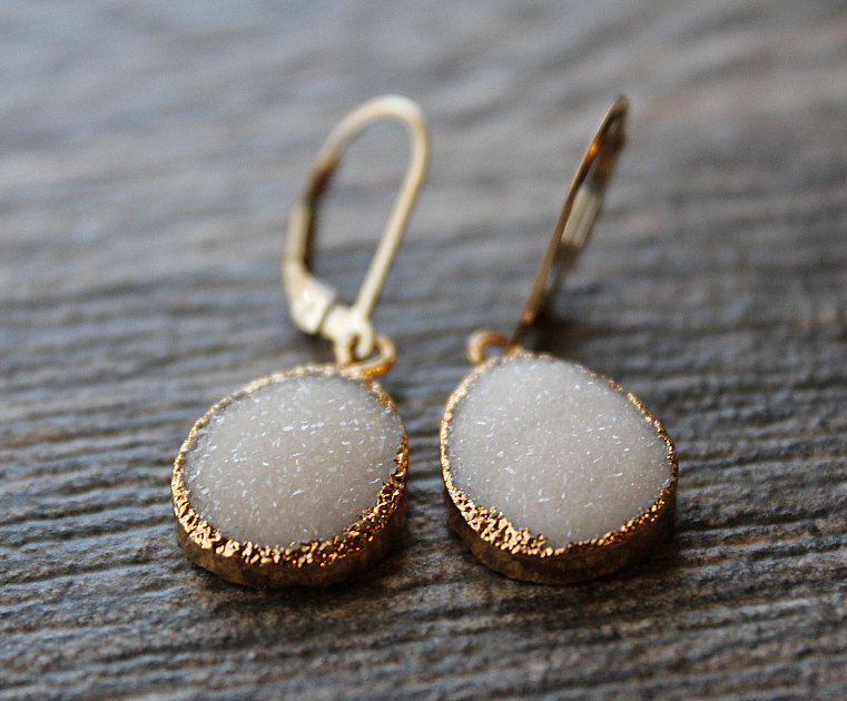 White Druzy Drop Earrings,  Snow White Dangle, Gold Electroplated, Large Teardrops, Natural Druzy, White Crystal Druzy Jewelry - product images  of