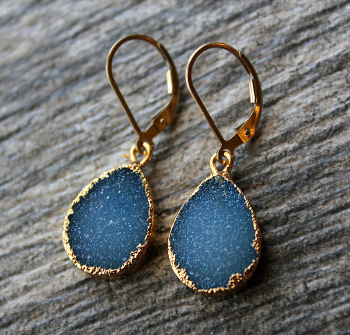 Bright Cobalt Blue Druzy Drop Earrings, Periwrinkle Blue Dangle, Gold Electroplated, Large Teardrops, Natural Druzy, Blue Druzy Jewelry - product images  of