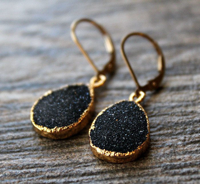 Black Druzy Drop Earrings, Black Crystal Dangle, Gold Vermeil, Black and Gold drop, Natural Druzy, Druzy Jewelry - product images  of