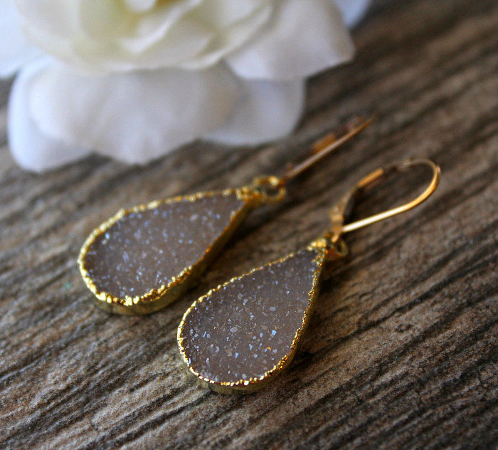Beige Druzy Earrings, Beige Sparkling Drop Earrings, Gold Electroplated Dangles, Natural Druzy Jewelery - product images  of