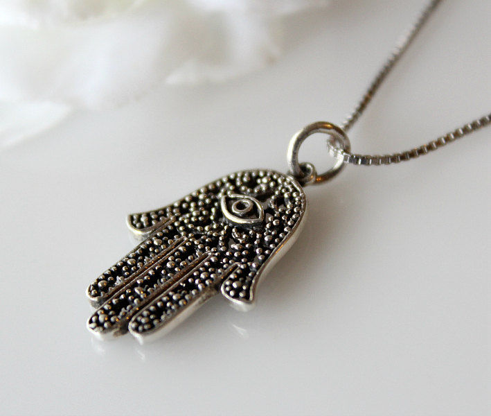 Hand of Hamsa Sterling Silver Pendant Necklace, Oxidized Silver, Hamsa jewelry, Large Hamsa Pendant - product images  of