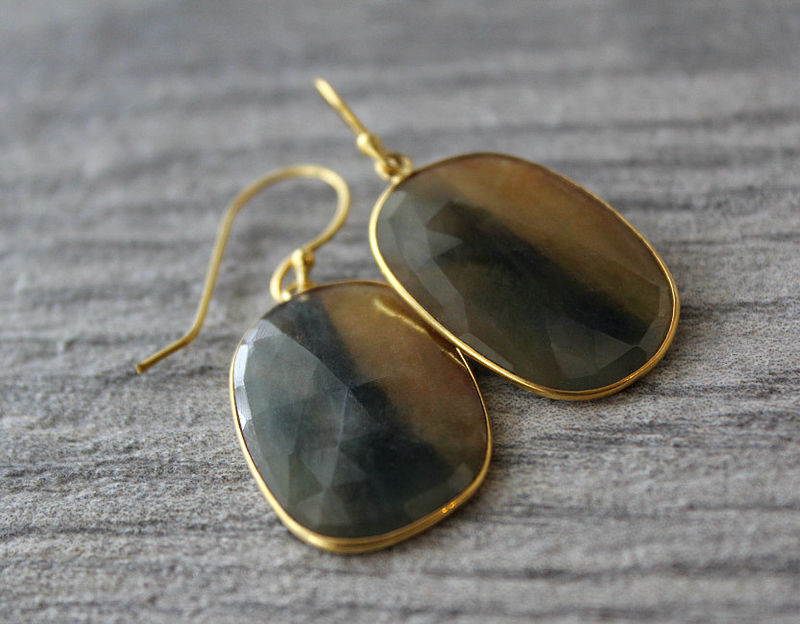 Large Mookaite Jasper Drop Earrings, Blue and Golden Beige Stone Dangles, Brown Natural Stone Earrings - product images  of