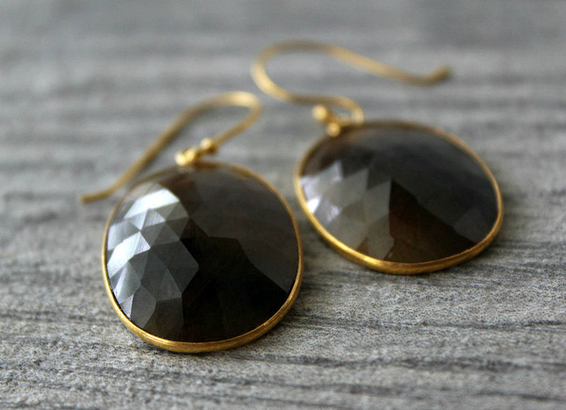 Large Brown Sapphire Drop Earrings, Brown Bezel Dangle, Brown Natural Oval Stone Earrings - product images  of