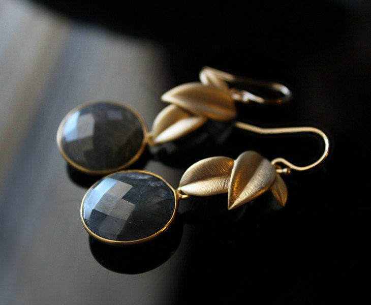 Round  Gold Filled Leaf Labradorite Drop Earrings, Coin Shaped, Grey Gemstone, Round Dangle, Flash Labradorite Jewelry - product images  of