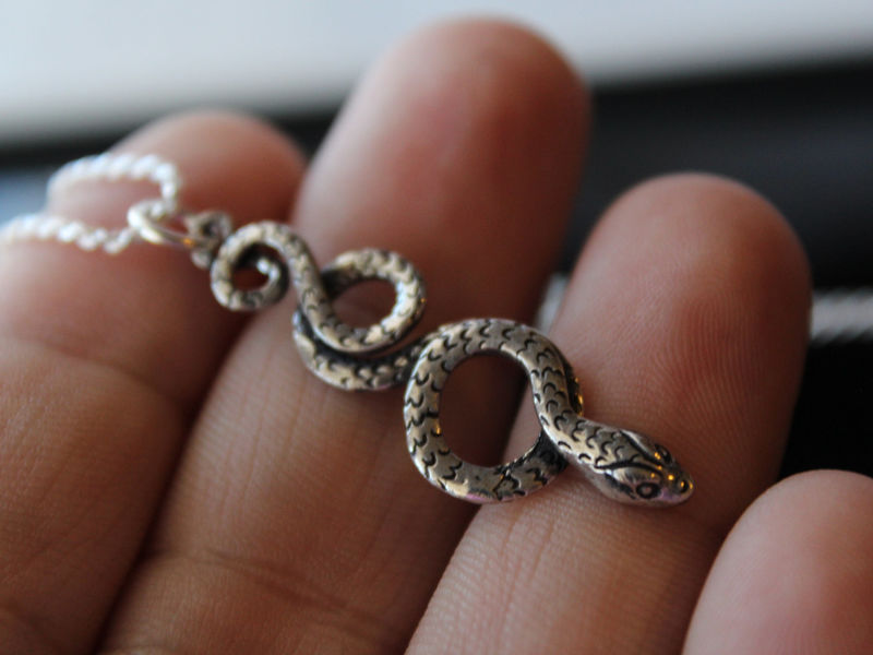 Coiled Snake Sterling Silver Pendant Necklace, Oxidized Sterling Silver, Curled Snake jewelry, Large Snake Pendant, Tribal Snake Jewelry - product images  of