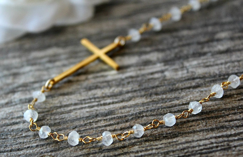 Moonstone Sideways Cross Necklace, Gold Vermeil Cross, Rosary Style, Wire Wrapped necklace, White Gemstone - product images  of