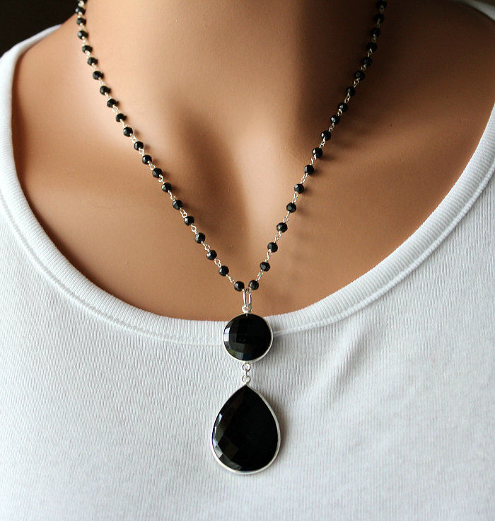 Black Onyx Pendant Necklace, 925 Sterling Silver Jet Black, Black Onyx Rosary Style, Statement Necklace - product images  of