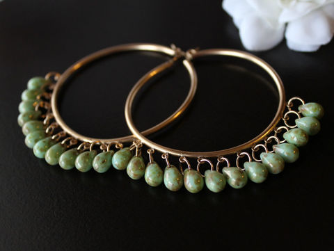 Huge,14K,Gold,Filled,Hoop,Earrings,,Green,Czech,Glass,Bohemian,Oversized,Fringed,Apple,Green,,Jewelry,Earrings,boho_earrings,gypsy_earrings,BOHEMIAN_HOOPS,14K_GOLD_FILLED,GOLD_HOOPS,FRINGED_EARRINGS,green_czech_glass,apple_green_earrings,green_hoop_earrings,bygerene,boho_hoops,oversized_earrings,huge_gold_hoops