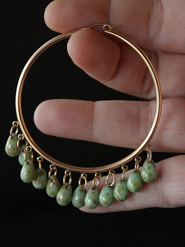 Huge 14K Gold Filled Hoop Earrings, Green Czech Glass Bohemian Earrings, Oversized Fringed Hoop Earrings, Apple Green, Bohemian Jewelry - product images  of