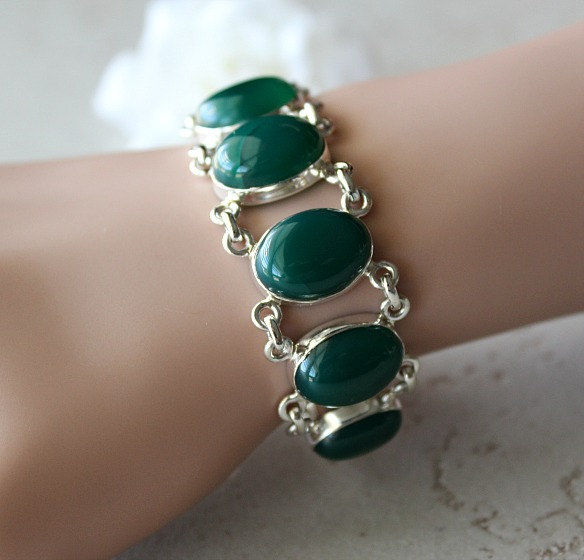 Green Onyx Stone Bracelet, 925 Sterling Silver Bracelet, Chunky Onyx Jewelry, Oval Green Onyx - product images  of