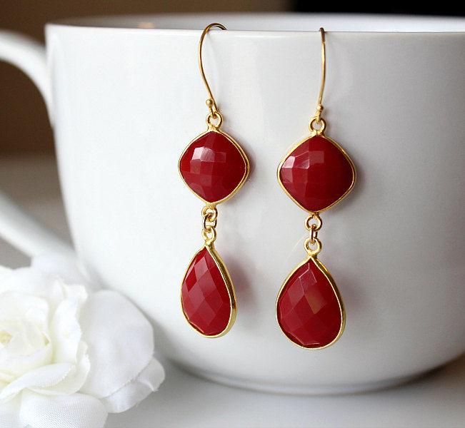 Red Onyx Double Drop Earrings, Red Stone Bezel, Red Gemstone, Crimson Dangle, Red Onyx Jewelry - product images  of