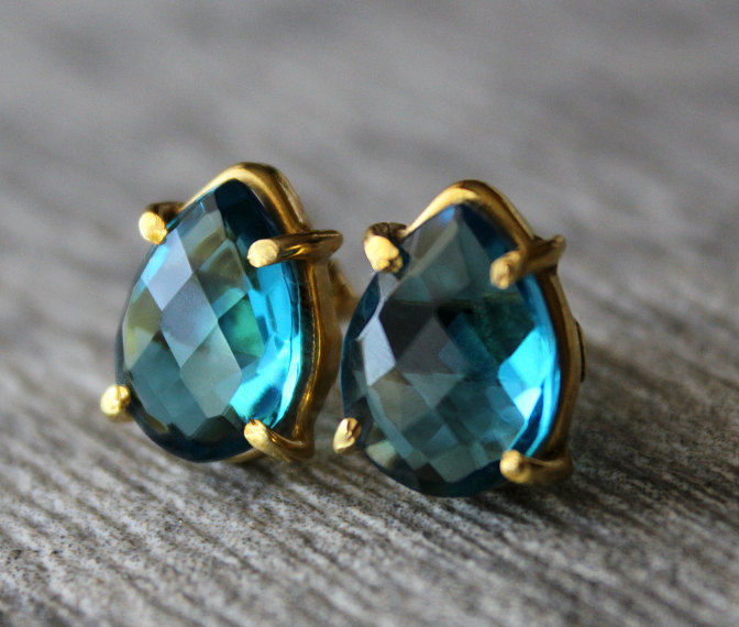 Large London Blue Quartz Studs, Light Blue Post Earrings, Swiss Blue, Gold Vermeil, Pear Studs, December Birthstone - product images  of