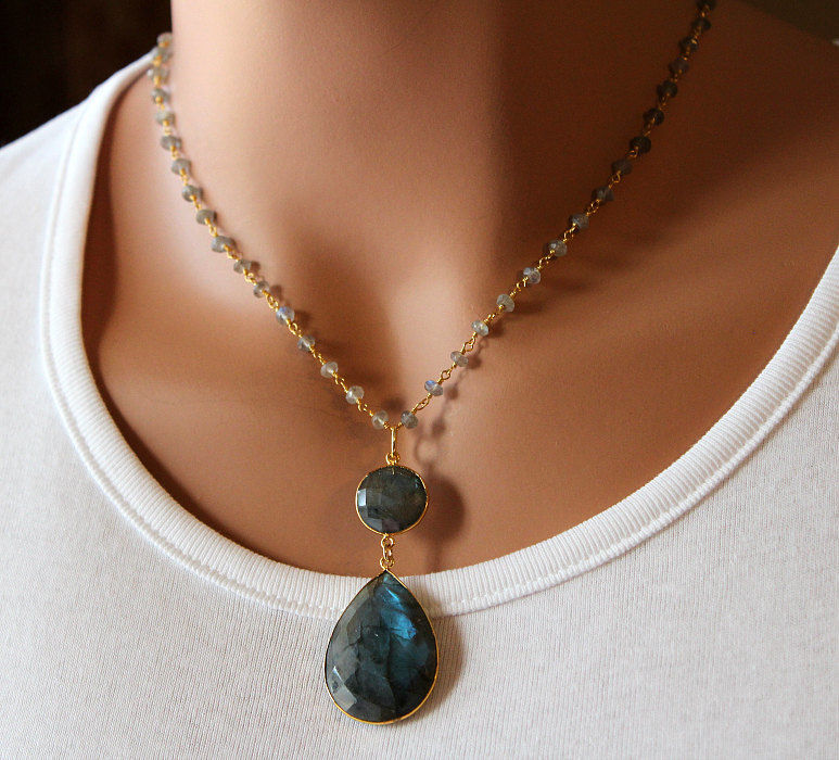 Large Labradorite Pendant Necklace, Grey Rosary style Gemstone Pendant, Flash Labradorite Pendant, Gold Vermeil, - product images  of