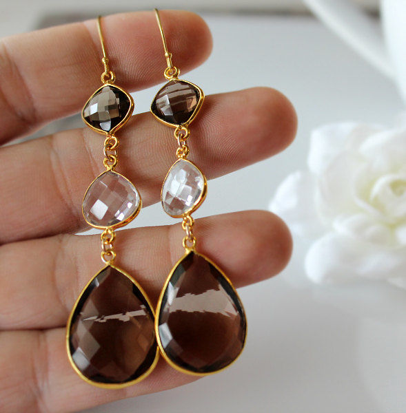 Long Smokey Quartz and Rock Crystal Drop Earrings, Brown Triple Dangle, 24K Gold Vermeil, Large Teardrops, 3 inches - product images  of