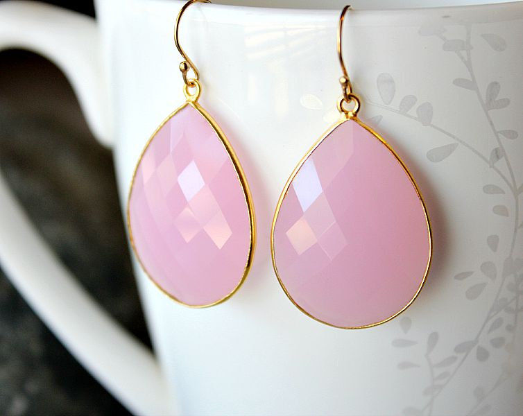 Jumbo Pink Rose Drop Earrings, Pink Quartz Dangle Earrings, Pink Linen Gemstone, Milky Pink Bezel, Gold Vermeil - product images  of