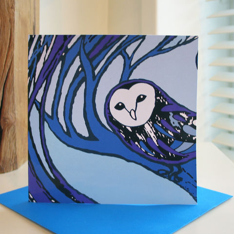 Barn,Owl,(blue),-,pack,of,4,greetings,cards,Greetings cards, barn owl, blue, Isle of Skye, Denise Huddleston, Cuckoo Tree Studio, Greetings Cards, Coastal