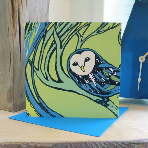 Barn,Owl,(green),-,pack,of,4,greetings,cards,Greetings cards, barn owl, cuckoo tree, green, Isle of Skye, Denise Huddleston, Cuckoo Tree Studio, Greetings Cards