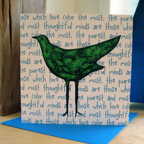 Colourbird,(green),-,pack,of,4,greetings,cards,Greetings cards, Colourbird, green, cuckoo tree, Isle of Skye, Denise Huddleston, Cuckoo Tree Studio, Greetings Cards
