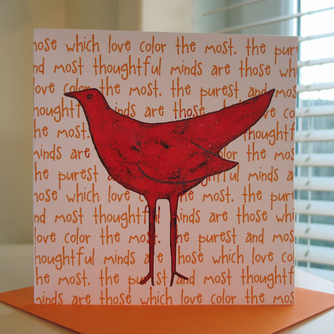 Colourbird,(red),-,pack,of,4,greetings,cards,Greetings cards, Colourbird, red, cuckoo tree, Isle of Skye, Denise Huddleston, Cuckoo Tree Studio, Greetings Cards