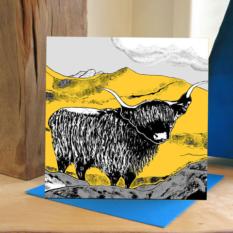 Highland,(yellow),-,pack,of,4,greetings,cards,Greetings cards, Highland, yellow, cuckoo tree, Isle of Skye, Denise Huddleston, Cuckoo Tree Studio, Greetings Cards