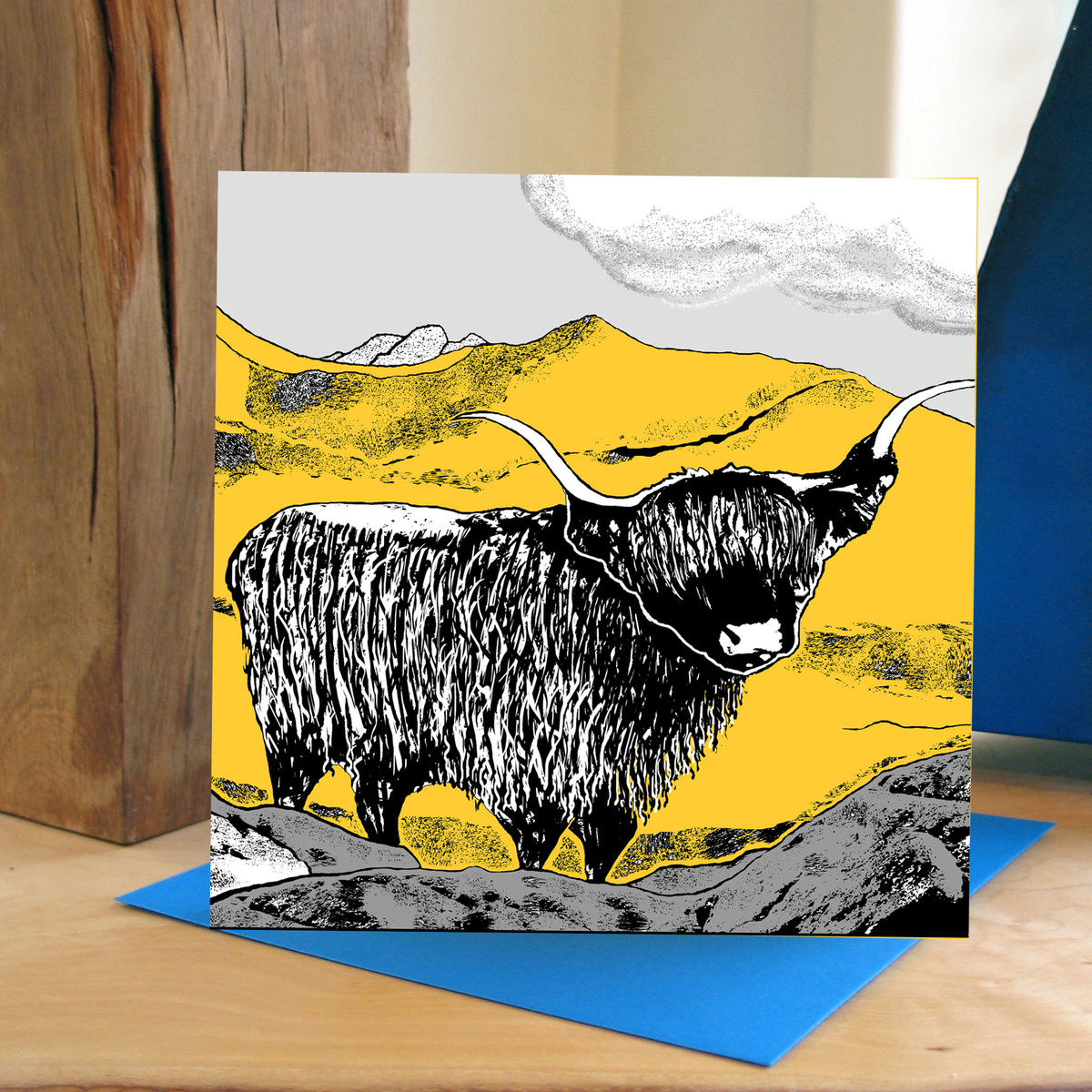 Highland (yellow) - pack of 4 greetings cards - product image