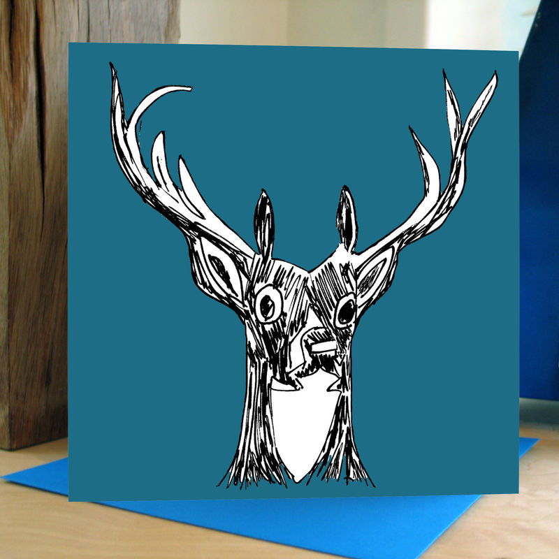 My Deer (teal) - pack of 4 greetings cards - product image