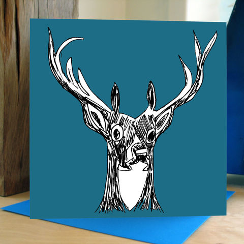 My,Deer,(teal),-,pack,of,4,greetings,cards,Greetings cards, My Deer, teal, cuckoo tree, Isle of Skye, Denise Huddleston, Cuckoo Tree Studio, Greetings Cards