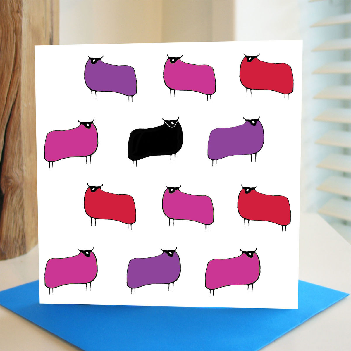 Sheep (pink red) - pack of 4 greetings cards - product image