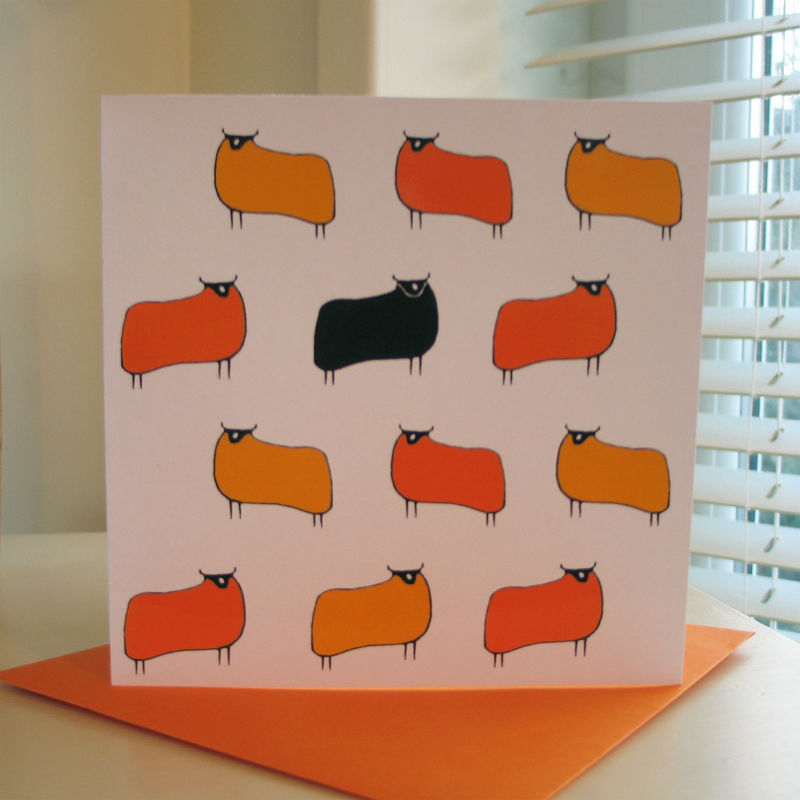 Sheep (yellow orange) - pack of 4 greetings cards - product image