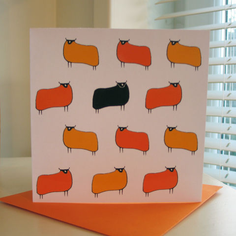 Sheep,(yellow,orange),-,pack,of,4,greetings,cards,Greetings cards, Sheep, yellow, orange, cuckoo tree, Isle of Skye, Denise Huddleston, Cuckoo Tree Studio, Greetings Cards