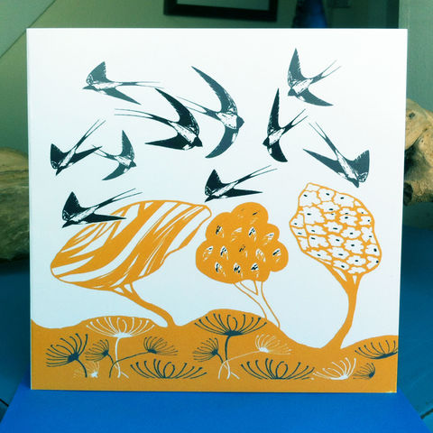 Swallows,(yellow),-,pack,of,4,greetings,cards,Greetings cards, swallows, yellow, cuckoo tree, Isle of Skye, Denise Huddleston, Cuckoo Tree Studio, Greetings Cards