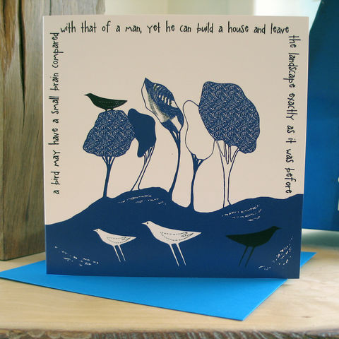 Wild,Woodland,(cobalt,blue),-,pack,of,4,greetings,cards,Greetings cards, Wild woodland, blue, cuckoo tree, Isle of Skye, Denise Huddleston, Cuckoo Tree Studio, Greetings Cards