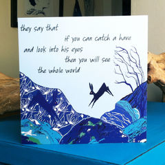 To,Catch,a,Hare,(blue),-,pack,of,4,greetings,cards,Greetings cards, To catch a hare, blue, hare card, Isle of Skye, Denise Huddleston, Cuckoo Tree Studio, Greetings Cards, Coastal