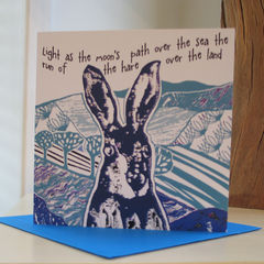The,Hare,(blue),-,pack,of,4,greetings,cards,Greetings cards, The hare, blue, hare card, Isle of Skye, Denise Huddleston, Cuckoo Tree Studio, Greetings Cards, Coastal
