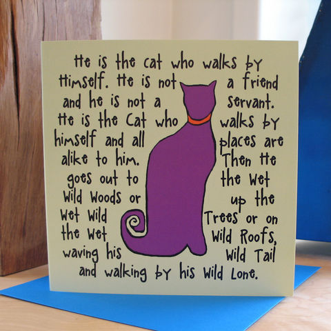 The,Cat,(purple),-,pack,of,4,greetings,cards,Greetings cards, The Cat, purple, cuckoo tree, cat card, cat, Isle of Skye, Denise Huddleston, Cuckoo Tree Studio, Greetings Cards