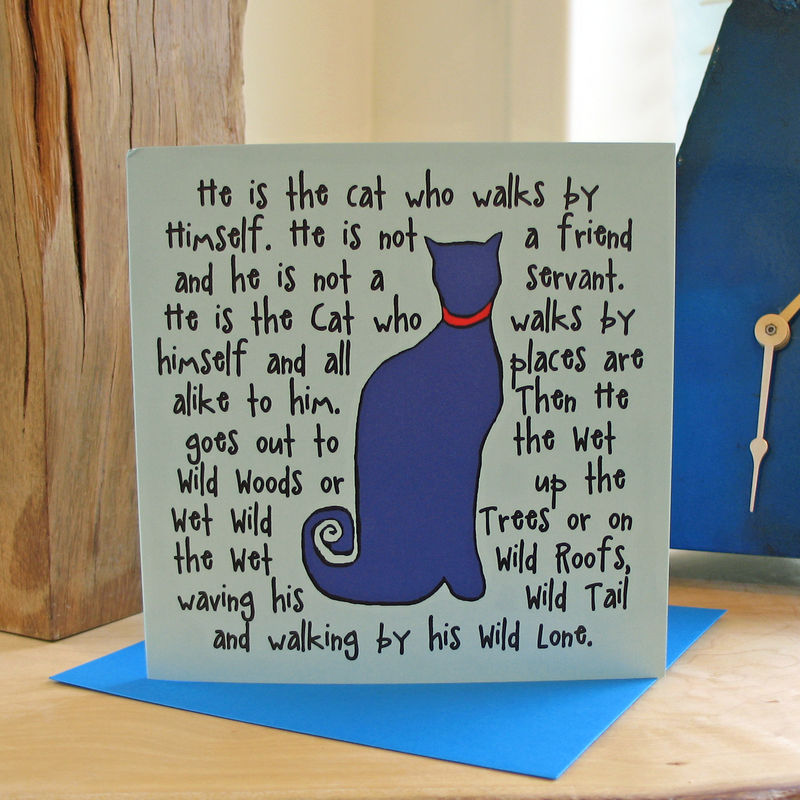The Cat (blue) - pack of 4 greetings cards - product image