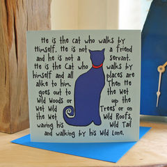 The,Cat,(blue),-,pack,of,4,greetings,cards,Greetings cards, The Cat, blue, cuckoo tree, cat card, cat, Isle of Skye, Denise Huddleston, Cuckoo Tree Studio, Greetings Cards