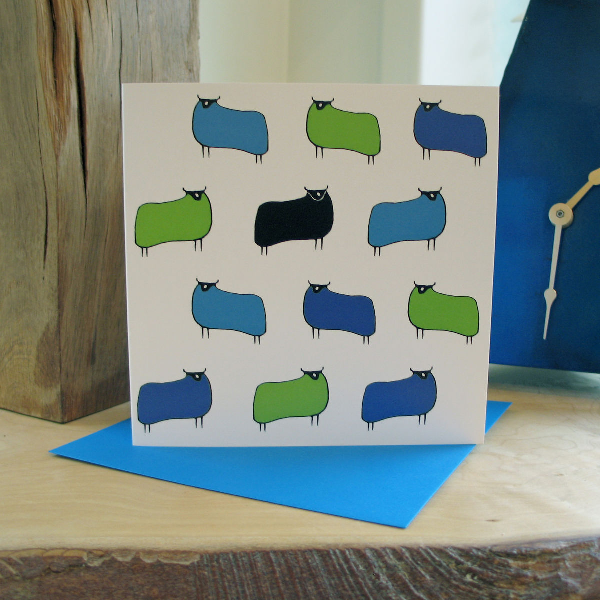 Sheep (blue green) - pack of 4 greetings cards - product image