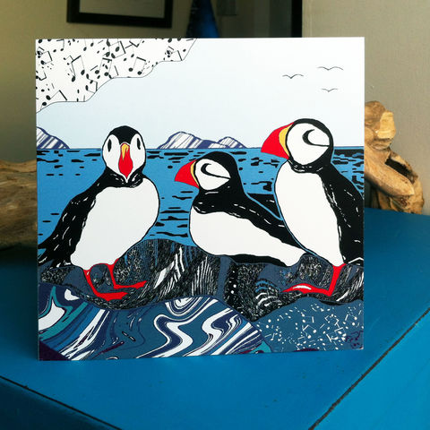 Puffins,-,pack,of,4,greetings,cards,Greetings cards, puffins, Isle of Skye, puffin card,Denise Huddleston, Cuckoo Tree Studio, Greetings Cards, Coastal