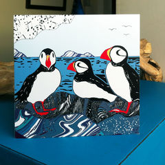 Puffins,-,pack,of,4,greetings,cards,Greetings cards, puffins, Isle of Skye, Denise Huddleston, Cuckoo Tree Studio, Greetings Cards, Coastal