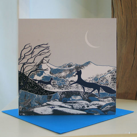 Winter,Foxes,-,pack,of,4,greetings,cards,SOLD,OUT,Greetings cards, Winter Foxes, cuckoo tree, Isle of Skye, Denise Huddleston, Cuckoo Tree Studio, Greetings Cards