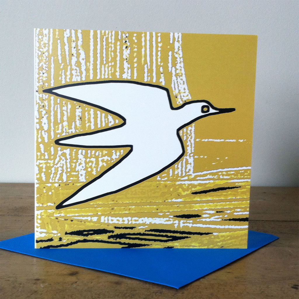 Water Bird (vintage yellow) - pack of 4 greetings cards - product image