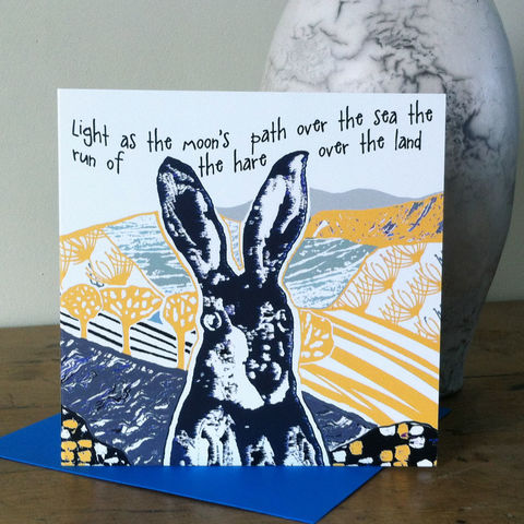 The,Hare,(yellow),-,pack,of,4,greetings,cards,SOLD,OUT,Greetings cards, the hare, cuckoo tree, Isle of Skye, Denise Huddleston, Cuckoo Tree Studio, Greetings Cards, yellow,