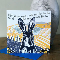 The,Hare,(yellow),-,pack,of,4,greetings,cards,Greetings cards, the hare, cuckoo tree, Isle of Skye, Denise Huddleston, Cuckoo Tree Studio, Greetings Cards, yellow,